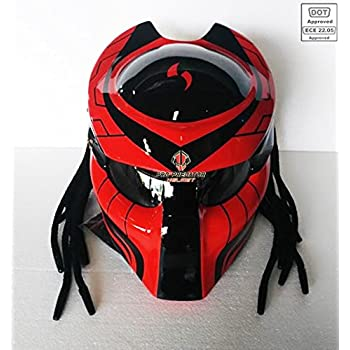 Amazon Com Pro Predator Motorcycle Dot Approved Helmet Red And