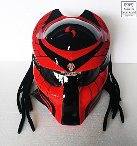 Pro Predator Motorcycle DOT Approved Helmet Red and Black Style include Tri Laser ()