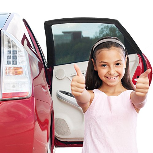 Car Window Shade (2 Pack) - IMPROVED VERSION - One-sided Car Sun Shade Baby with UV Protection for Your Kids, Dog - Sun Cover Without Clings or Suction Cups - 100% (Wide Window Shade Car compare prices)