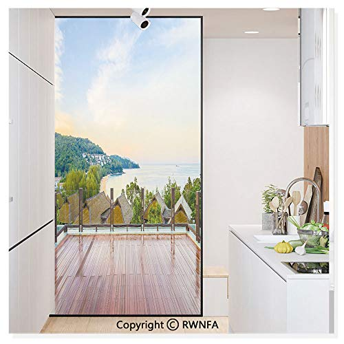 Price comparison product image RWN Film Removable Static Decorative Privacy Window Films Outdoor Balcony Deck Houses Forest Ocean Coast Tranquility Vacation Destination for Glass (17.7In. by 78.7In), Multicolor
