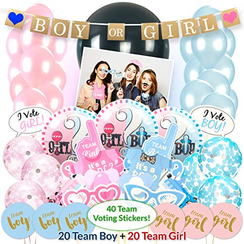 (Boy or Girl Gender Reveal Party Supplies and Baby Shower Decorations - Complete 103 Piece Kit - Including Black 36