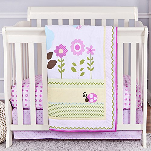 Dream On Me 3 Piece Reversible Portable Crib Bedding Set, Baby Owl ()