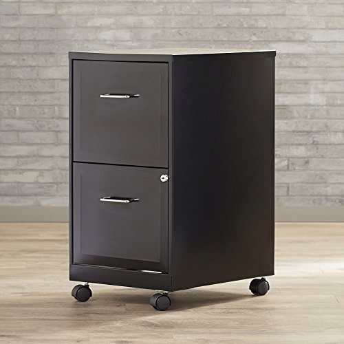 Filling Cabinet Mobile File Storage Organizer - Vertical 2 Locking Drawers Office Portable Furniture - Made From Metal - Black And Silver Finishes Available (Black) by Varick