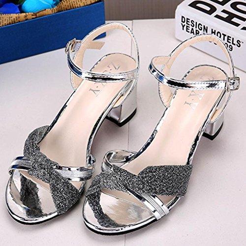 Sandalias Mujer Tacon, Culater Zapatos Moda Verano, Polipiel y Goma Plateado