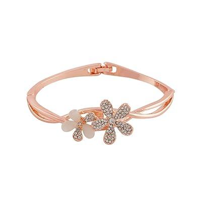 Valentine Gift Sitashi Rose Gold Plated Crystal Ad Floral Design