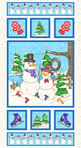 Premium Cotton Fabric - Blank Quilting Flaky Friends 8588-11: Mr. & Mrs. Snowman Panel ()