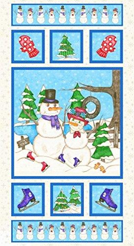 Premium Cotton Fabric - Blank Quilting Flaky Friends 8588-11: Mr. & Mrs. Snowman Panel ()