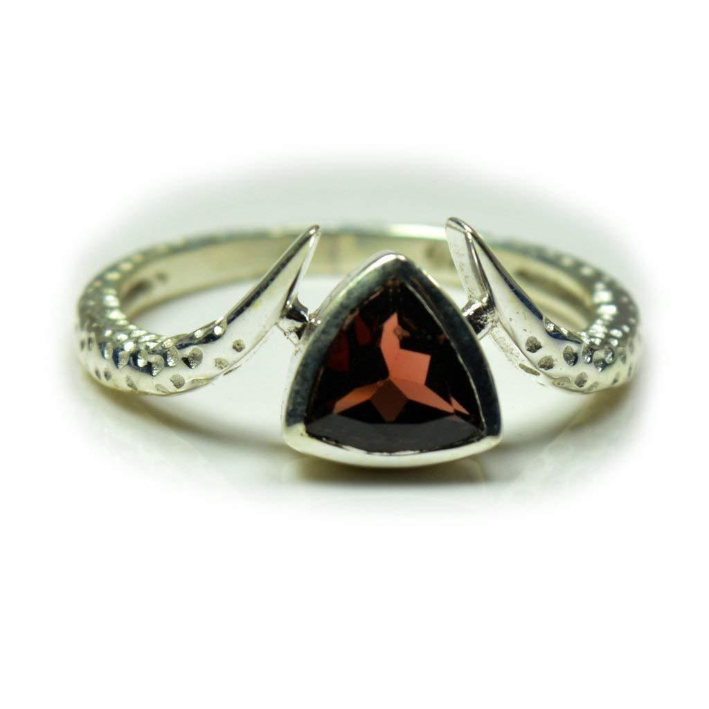 Gemsonclick Natural Trillion Shape Garnet Ring Silver January Birthstone Chakra Healing Jewelry Size 4-13