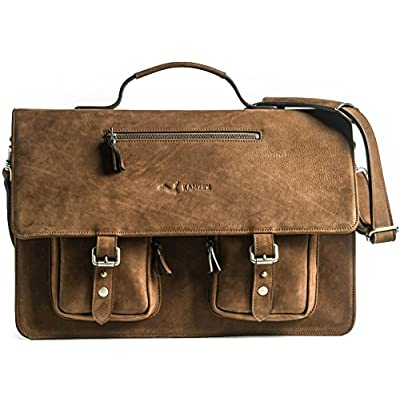 well-wreapped KANZEK Brown Luxury Full Grain Cowhide Leather Messenger Bag Executive  Shoulder Satchel ac4f7169da