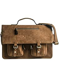 KANZEK Brown Luxury Full Grain Cowhide Leather Messenger Bag/Executive Shoulder Satchel Briefcase, 17 inch Laptops...