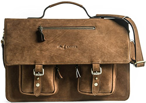 KANZEK 17 inches Full Grain Leather Messenger Bag - Luxury Executive Shoulder Satchel Briefcase. Distressed Vintage Brown/Cognac Cowhide - Large and Light for Business Professionals - Men's & Women's
