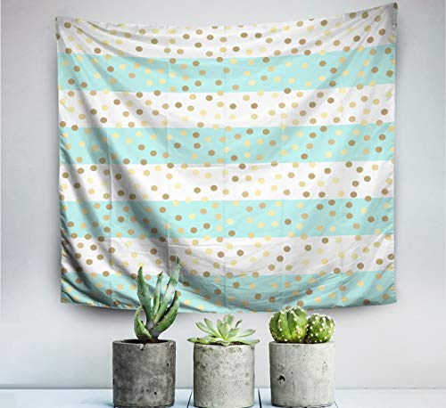 (Pamime Home Decor Tapestry for Gold Glittering Drops Turquoise White Stripes Pattern Striped Mint Wall Tapestry Hanging Tapestries for Dorm Room Bedroom Living Room 80x60 Inches 200x150cm)