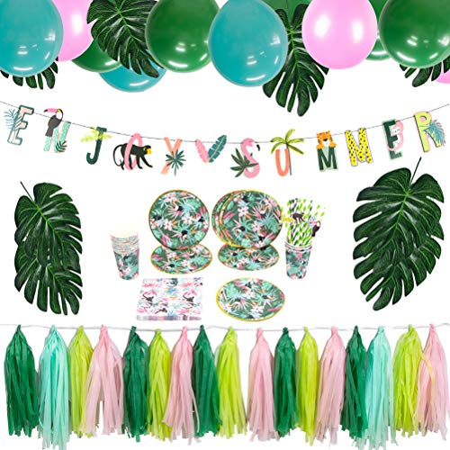 Jungle Safari Theme Party Supplies Set Plates Napkins Cups Straws Tableware Kit Paper Tassel Grlands Zoo Party Baby Summer Birthday Party Decoration Easy Joy]()
