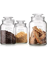 Set Of 3 Clear Glass Canister Jars With Tight Lids For Kitchen Or Bathroom Food Storage Containers