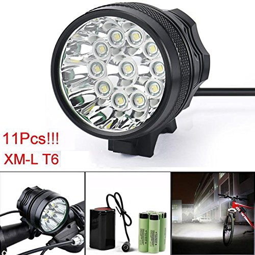 By Bike 2800LM 11 x XM-L T6 LED Bicycle Cycling Headlight Waterproof Bike Lamp with 6pcs 18650 Durable AAA Batteries for Hiking/Riding/Cycling