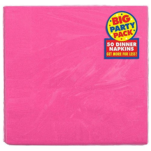 Bright Dinner (Durable Big Bright Dinner Paper Napkins Party Supply (50 Pack), 7-3/4 x 7-3/4