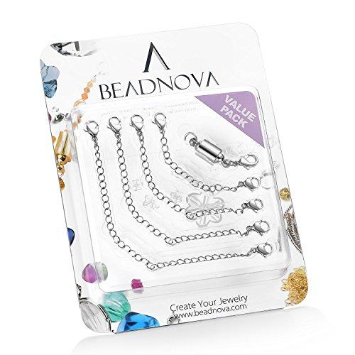 BEADNOVA Stainless Steel Necklace Extender Bracelet Extender Chain Set 4pcs (3