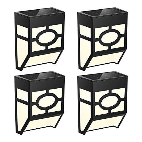 Solar Lights Outdoor,Waterproof LED Lighting Lantern - Wall Mounted for Landscape, Spot, Porch, Garden, Deck, Fence, Patio,Stair, Backyard, Garage, Spool, Path - Warm White/Color Changing,4 Packs