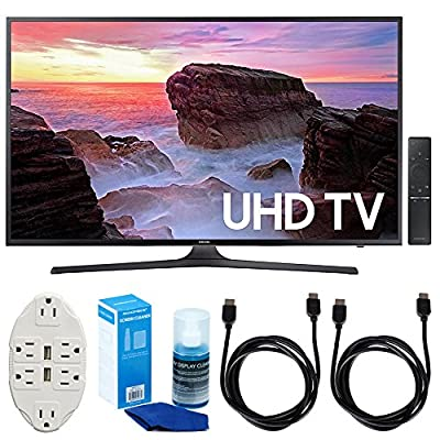"Samsung UN43MU6300 43"" 4K Ultra HD Smart LED TV (2017 Model) w/ Accessories Bundle Includes, Transformer Tap USB w/ 6-Outlet Wall Adapter & 2 Ports, 2x 6ft. HDMI Cable & Screen Cleaner For LED TVs"