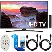 Samsung UN43MU6300 43 4K Ultra HD Smart LED TV (2017 Model) w/ Accessories Bundle Includes, Transformer Tap USB w/ 6-Outlet Wall Adapter & 2 Ports, 2x 6ft. HDMI Cable & Screen Cleaner For LED TVs