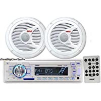 Pyle Marine Stereo AM/FM USB/SD iPod MP3 Receiver Headunit + 2 x 150W 6.5 Speakers & Remote Control
