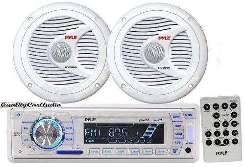 Pyle Marine Stereo AM/FM USB/SD iPod MP3 Receiver Headunit + 2 x 150W 6.5