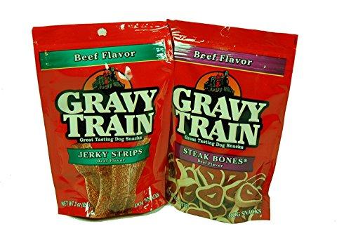 - Gravy Train Dog Snacks (Bundle of 2) (1) Steak Bones & (1) Jerky Strips