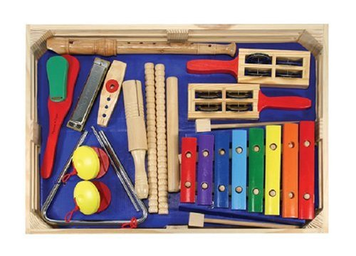(Melissa & Doug Deluxe Band Set With Wooden Musical Instruments and Storage)