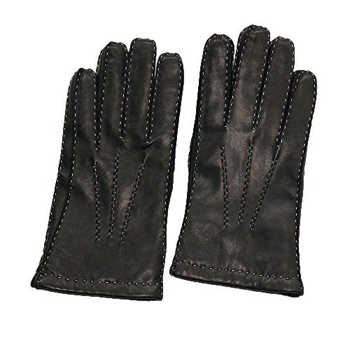 Fingerless Mitts Knit Pattern (WARMFINGER men's handsewn lambskin genuine leather fashion leather glove with cashmere knit lining (M))