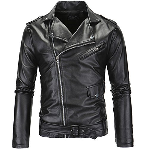 Mens Causal Belted Design Slim Pu Leather Biker Zipper Jacket Coat Faux Leather Motorcycle Jacket (Tag L=US S)