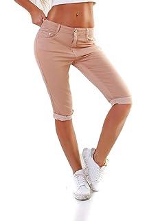 5271a5a8f1531 Fraternel Damen Jeans Hose Shorts Capri Knielang Stretch: Amazon.de ...