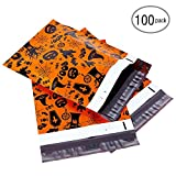 10x13 100-Pack Halloween Poly Mailers, Ohuhu Shipping Envelopes with Ghost Pumpkin Lantern Patterns, Black Hat, Spider Web Designer, Holiday Mailer Bags for Halloween Gifts Packages, Orange and Black