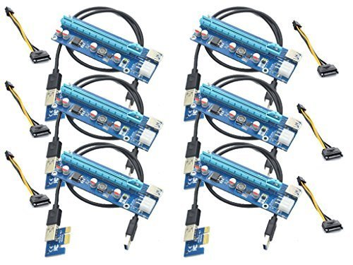 Underground Water Storage (Panto 6-Pin Powered PCI-E PCI Express Riser - VER 006C - 1X to 16X PCIE USB 3.0 Adapter Card - With USB Extension Cable - GPU Graphic Card Crypto Currency Mining (6 pack))