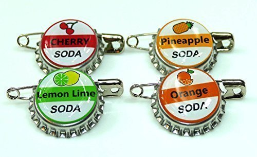 4 ELLIE SODA bottle cap pins INSPIRED by