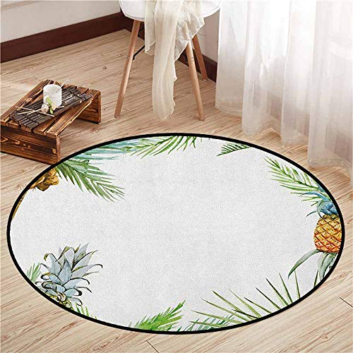 Palm Tree Border Rug - Indoor/Outdoor Round Rugs,Pineapple,Watercolor Tropical Island Style Border Print Exotic Fruit Palm Trees and Leaves,Children Bedroom Rugs,2'3