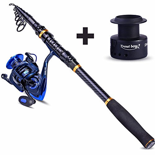 and Reel Combos Carbon Fiber Telescopic Fishing Pole with Reel Combo Kit for Outdoor Travel Saltwater Freshwater Fishing ()