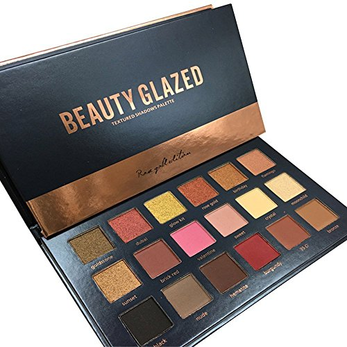 Beauty Glazed 18 Colors Rose Gold Textured Eyeshadow Palette Makeup Contour Metallic Eye Shadow Palette ()