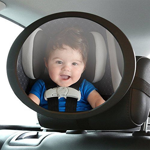 Happy Hours - Adjustable Shatterproof Baby Back Seat Mirror with Swivel and Tilt Function / Universal Super-Sized 19cm Acrylic Safest Rear View for Kids - Sunglasses Bentley