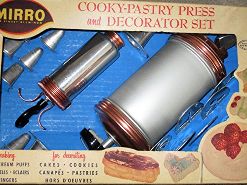 VINTAGE Mirro Cookie Press [cooky press] and decorator set