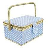 "Great gifts for girls and ladies  Our fabric wooden sewing basket kit is perfect for everyday sewing and mending. Sewing basket measures at 9.4"" x 6.9"" x 5.9"". It comes with a removable tray including the complete set of sewing kit! Why you n..."