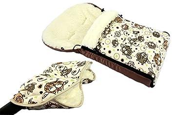 Buggy BAMBINIWELT universaler Winterfu/ßsack Kinderwagen 90cm oder 108cm aus Wolle im Eulendesign auch geeignet f/ür Babyschale 90cm, 1