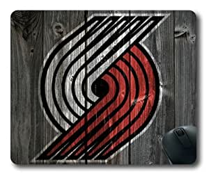 Portland Trailblazer Wooden Background of NFL Sports Team logo Rectangle Shaped Mouse Pad by Skynessky