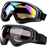 Peicees 4 Pack Ski Goggles Winter Snowboard Adjustable UV 400 Protective Motorcycle Snow Goggles Outdoor Sports Tactical Glasses Dustproof Military Sunglasses for Kids Boys Girls Youth Men Women