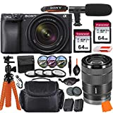 Sony Alpha a6400 Mirrorless Digital Camera with 18-135mm Lens & Pro Accessory Bundle incl. 2X 64GB Transcend Memory Card, Gadget Bag, UV-CPL-FLD Filters and Macro Kits and More