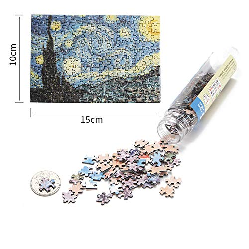 2Pcs Small Jigsaw Puzzles for Adults – 150 Pieces Small Aegean Sea Starry Night Jigsaw Puzzle for Adult(6 x 4 Inches)