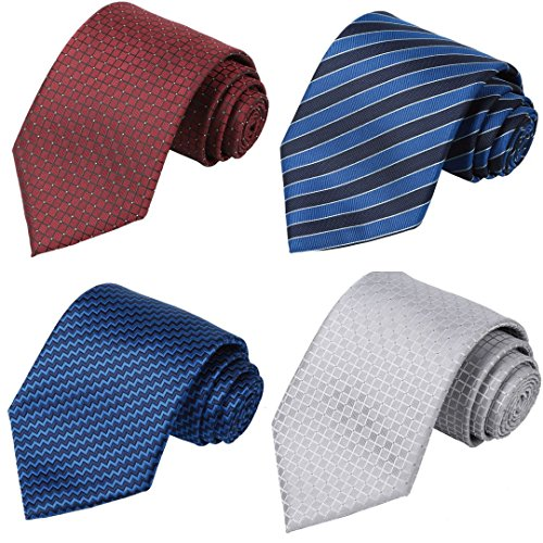 Long Tie - KissTies 4PCS Long Ties 63'' XL Necktie Blue Red Silver Tie + 1 Magnetic Boxes