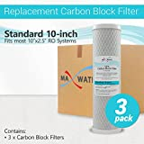 3PK- 10'' x 2.5'' Coconut Shell CTO Carbon Block Water Filter for RO & Whole house