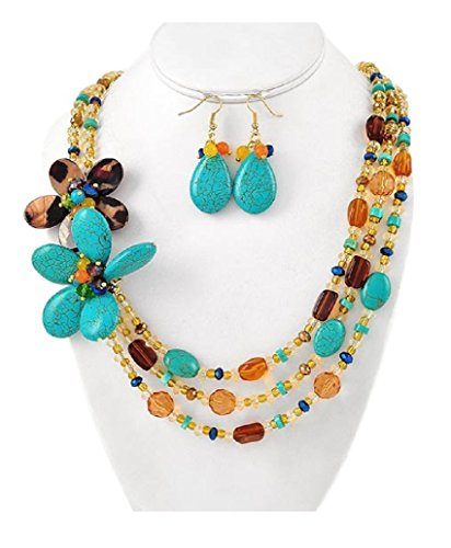 (Turquoise Stone and Amber Bead Necklace Set Fashion Jewelry Boxed (#36))