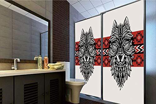 Horrisophie dodo 3D Privacy Window Film No Glue,Wolf,Tattoo Style Ethnic Totem Style Animal Face with Swirls Geometric Triangle Motifs Decorative,Red Black Cream,47.24