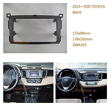 autostereo 11 - 343 - Marco embellecedor para radio CD estéreo para coche adaptador de radio para TOYOTA RAV4 2013 + Marco de Instalación de radio de coche: ...